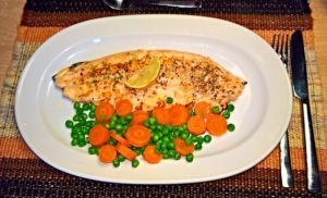 fish with carrots and peas