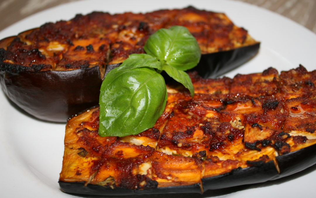 Garlic & Basil Roasted Eggplant Recipe
